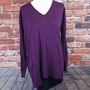 Vince Camuto Drop Stitch Sweater Plum